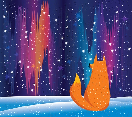 the aurora: northern lights and red fox Illustration