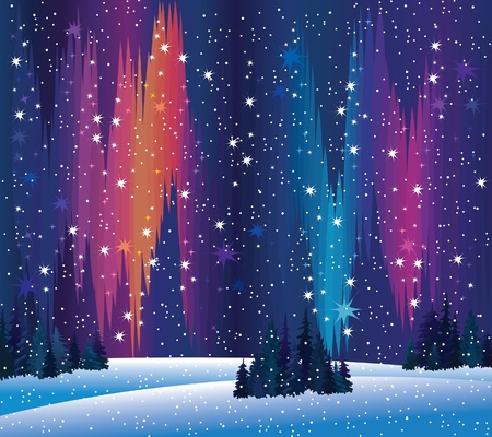 northern lights and winter nature Vector