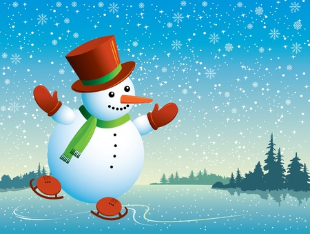 Cartoon happy snowman with skating Vector