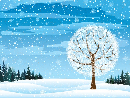 frozen lake: winter nature with forest, tree and snow Illustration