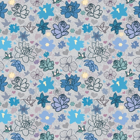 colored wallpaper with beautiful abstract blue flowers Vector