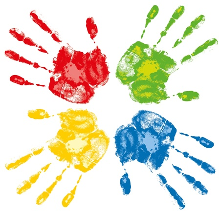 group of colored human hands on a white background Vector