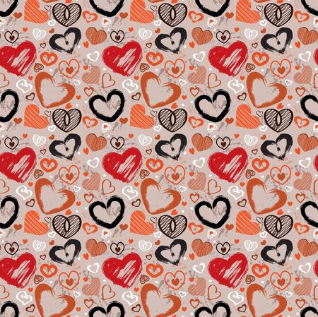 Vector wallpaper with colored hearts Stock Vector - 11273091