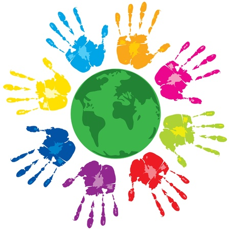 caring hands: Vector with group of colored human hands and green planet on a white background