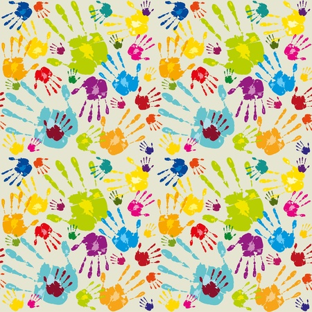 caring hands: Abstract colored wallpaper with hands Illustration