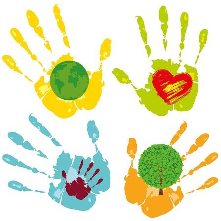 earth in hand: Vector conjunto de s�mbolos con el tema de la protecci�n Vectores