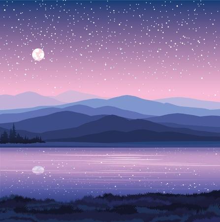 c, con montañas, lagos y bosques en un fondo de cielo estrellado Ilustración de vector