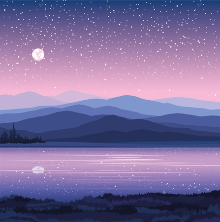 c with mountains, lake and forest on a starry sky background Illustration