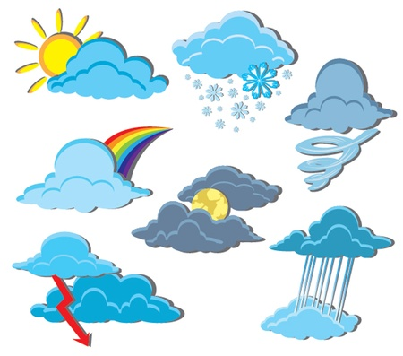 Vector set of clouds on a weather theme Vector