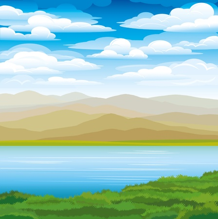 peaceful: Vector landscape with mountains, green grass and blue lake on a sky background