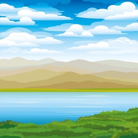 river rock: Vector paesaggio con le montagne, erba verde e lago blu su uno sfondo cielo