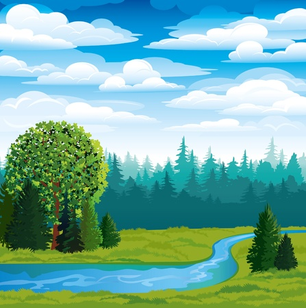 Vector landscape with green grass, forest and blue river on a sky background Ilustração