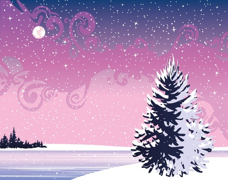 Beautiful wintry night landscape  Stock Vector - 11273110