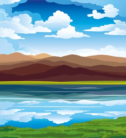 mountain view: Vector landscape with mountains, green grass and blue lake on a sky background