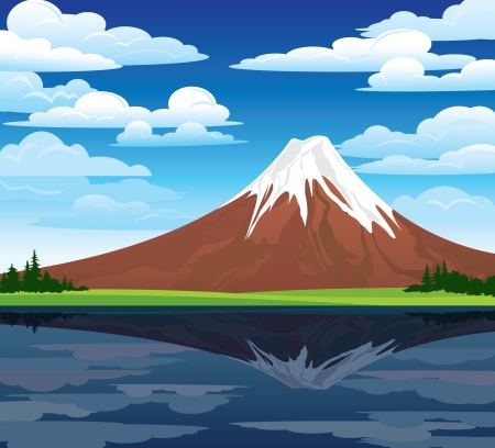 Cartoon summer landscape with mountain and lake Vector