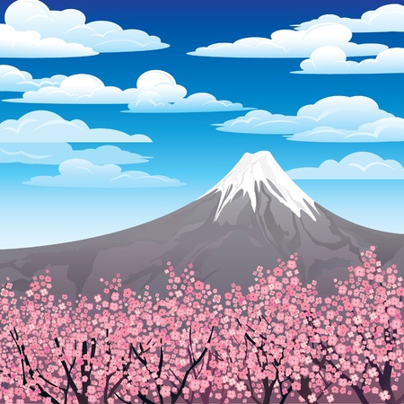 Landscape with volkano and pink japanese trees on a cloudy sky  Illustration