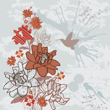 Summer vector with bloom flowers and flying hummingbird on a abstract dackground Vector