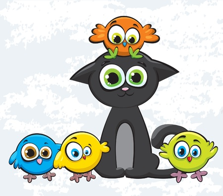 Cartoon colored birds and black kitty
