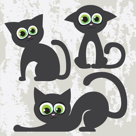 Vector set of cartoon black cats