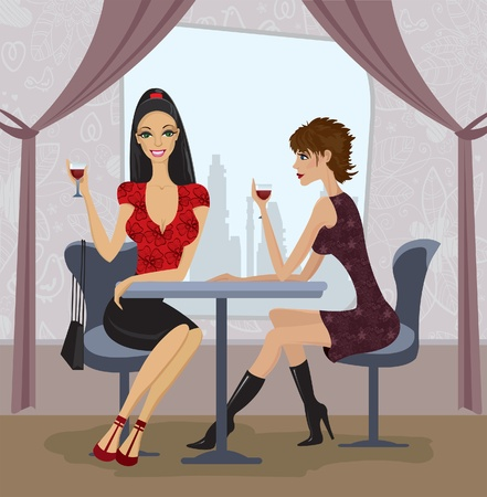 Two beautiful women in restaurant Vector
