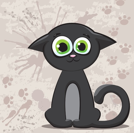 Funny cartoon black kitty with big green eyes on a abstract background Vector