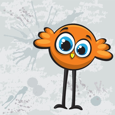 Funny cartoon orange bird Vector