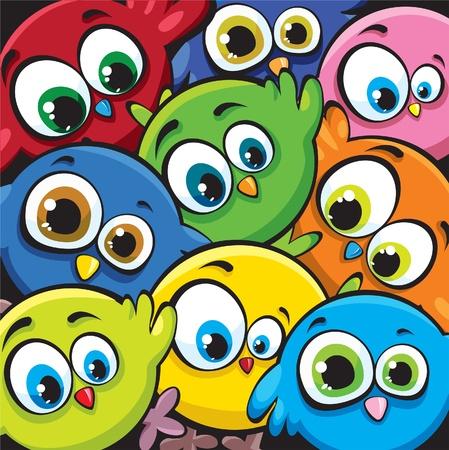 Aves de divertidos dibujos animados Vectores
