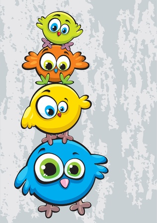 Funny cartoon family of birds standing on each other Illustration