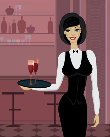 Beautiful waitress with tray in bar Stock Vector - 11383259