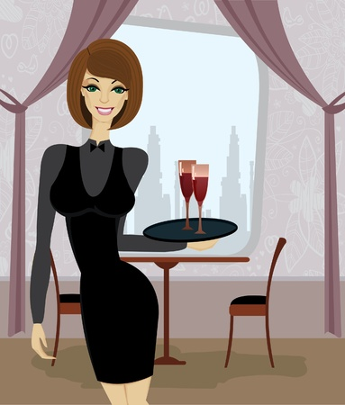 Beautiful waitress with tray in restaurant Vector