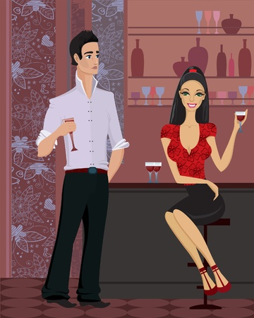 Beautiful yang woman and handsome man  with a glass of wine standing at the bar