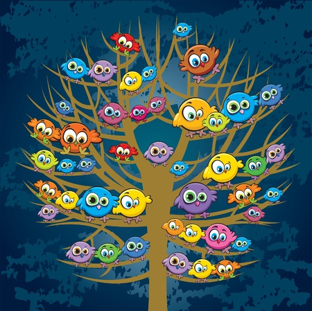 Group of colored funny birds sitting on a tree