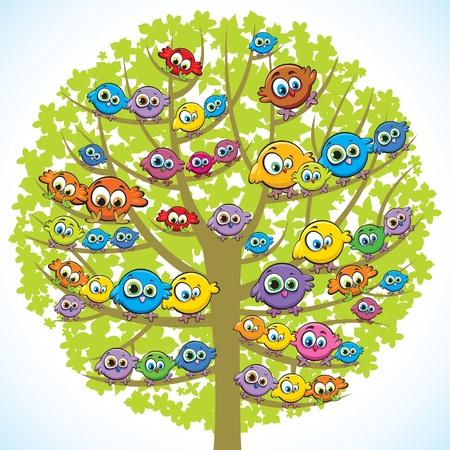 Groep van gekleurde grappige vogels zittend op een groene boom Stock Illustratie