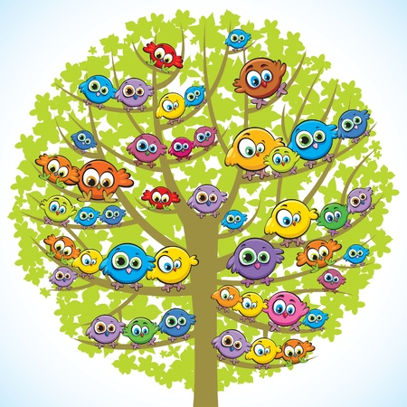 Group of colored funny birds sitting on a green tree