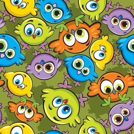 Vector wallpaper with cartoon colored birds