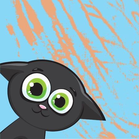 Funny cartoon black kitty with big green eyes on a abstract blue background Vector