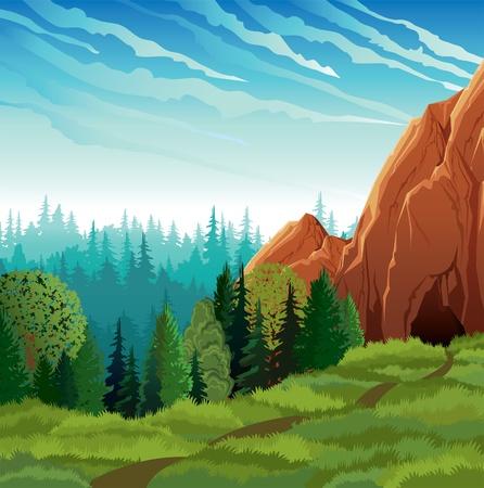 Grüne Landschaft mit Wiesen, Wald und Berge an einem bewölkten Himmel im Hintergrund