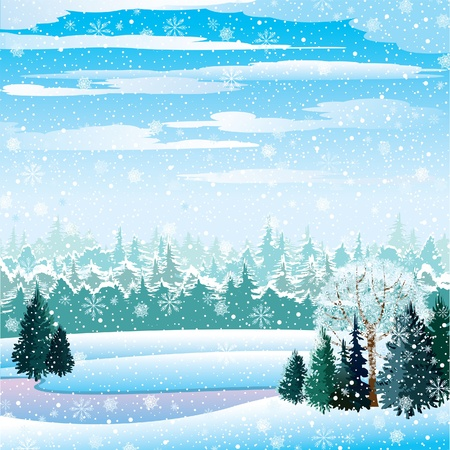 Vector winter landscape with frozen lake, forest and snowfall Illustration