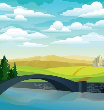 Verde paisaje con el puente, pradera y las monta�as en un fondo de cielo nublado