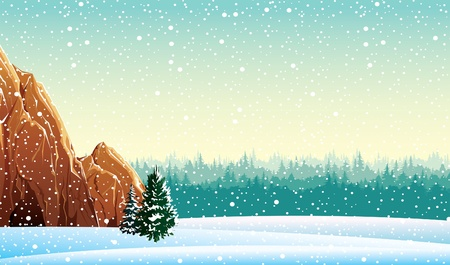 a cave: Winter vector landscape with rock and forest Illustration