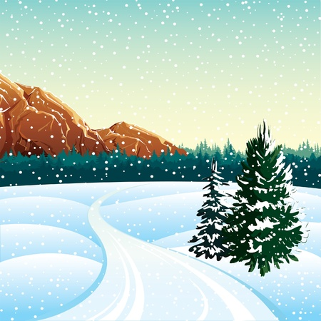 Winter vector landscape with trees, rock and roads Stock Vector - 11529813