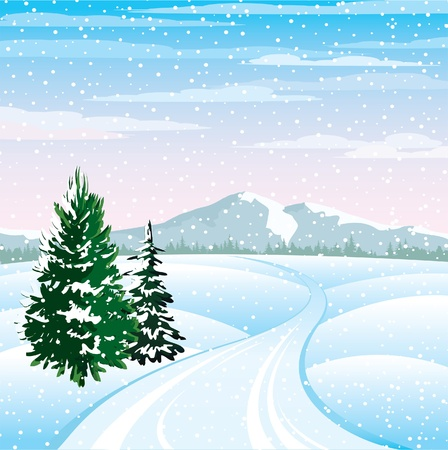 snowy hill: Winter vector landscape with trees and road on a cloudy sky