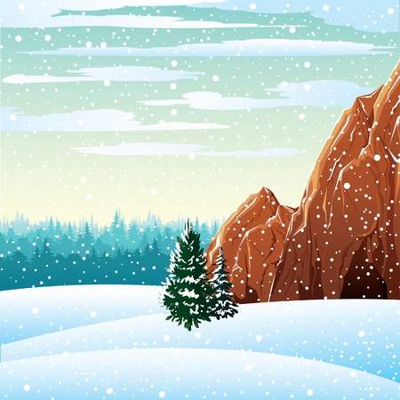 Winter vector landscape with rock and forest on a cloudy sky Vector