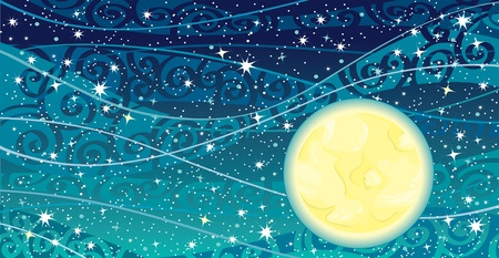 cartoon stars: Vector night sky with stars, yellow moon and milky way