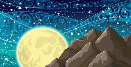 Vector night sky with stars, yellow moon and mountains Vector