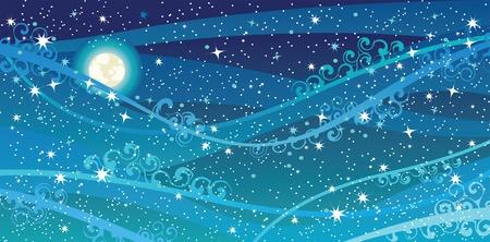 cielo estrellado: Vector cielo nocturno con las estrellas, la luna y de la Vía Láctea