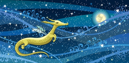 Cartoon yellow dragon on a night sky with stars and moon