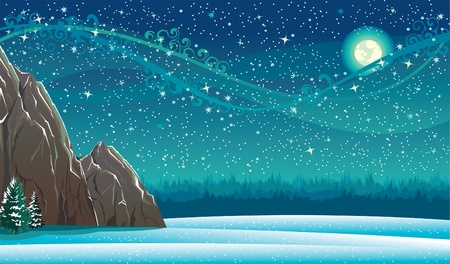 Beautiful wintry landscape with night sky, mountains  and light moon Vector