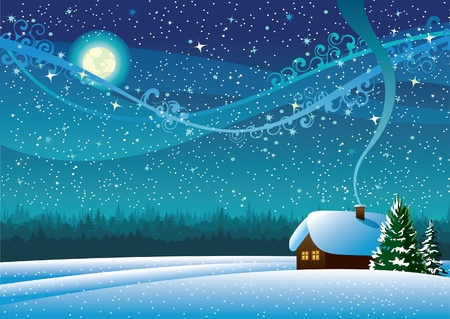night view: Vector winter landscape with snow house, forest and light moon