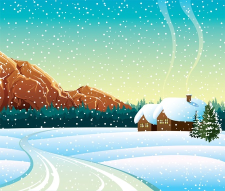 winter scene: Vector winter landscape with house, road and mountains
